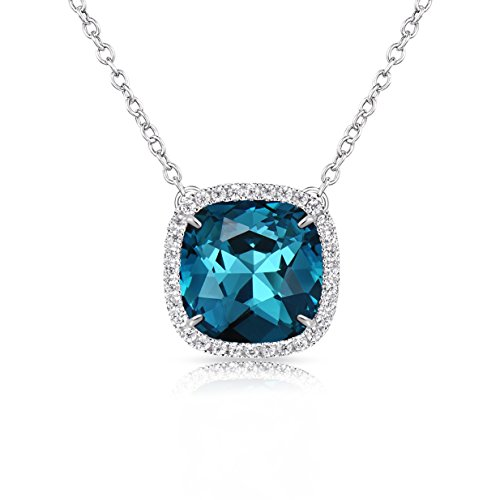(Alantyer Birthstone Necklace Made with Square Swarovski Crystal for Women and Girls,Blue Topaz (December Birthstone))