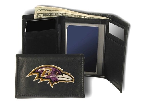 Hall of Fame Memorabilia Baltimore Ravens Embroidered Leather Tri-Fold Wallet