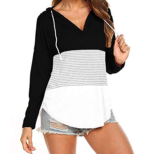 Tunic,Toimoth Women Daily Casual Long Sleeve Striped Patchwork Stretchy Tops Blouse T-Shirt (XXL, BlackA)