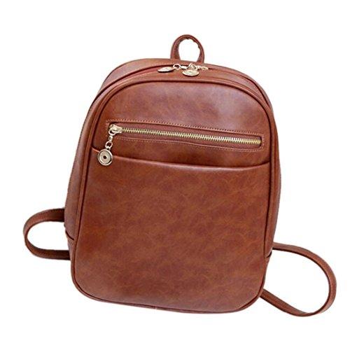 [Creazy Fashion leather Backpacks Women Travel School Bag Mochila Feminina Bag (Brown)] (Diy Costumes With Black Corset)