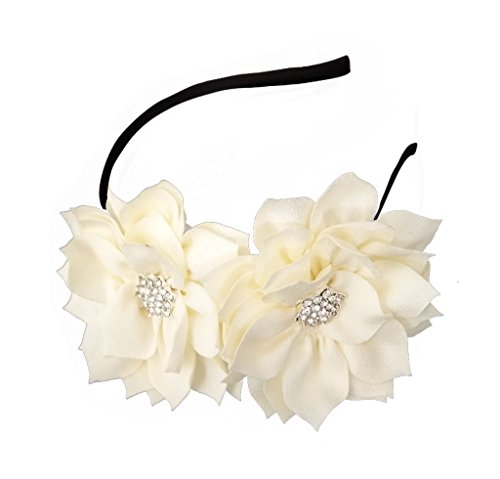 Fascinator Headband Hair Clip Lotus Flower Bridal Headpieces Wedding Party Cocktail Headwear (Beige)
