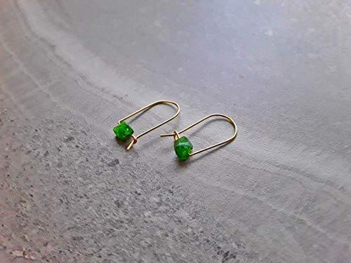 - Raw Emerald Modern Hoop Earrings 14K Gold Filled