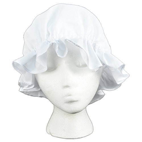 Colonial Amish Mob Cotton Hat Womens White Bonnet Poor Girl, Maid, or Pilgrim Costume -