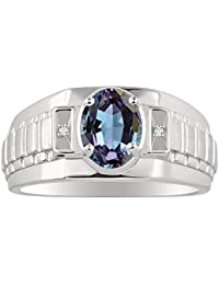 Classic Designer Style Oval Shape Gemstone & Genuine Sparkling Diamonds in Sterling Silver .925-8X6MM Color Stone