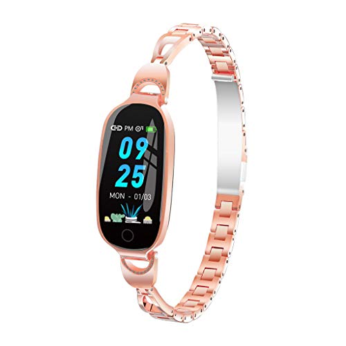 - Women Smart Watch Waterproof IP68 - L18 Color Screen Blood Pressure Heart Rate Monitor Smart Bracelet Fitness Tracker Band (Rose Gold)