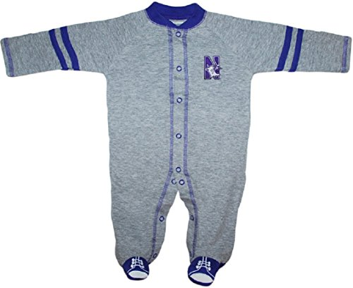 Creative Knitwear Northwestern University Wildcats Sports Shoe Footed Baby Romper