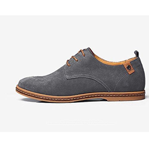 para de cordones de Cuero Zapatos hombre Gris Casual SHELAIDON Oxford trabajo de Planos Vestir xw6TaB