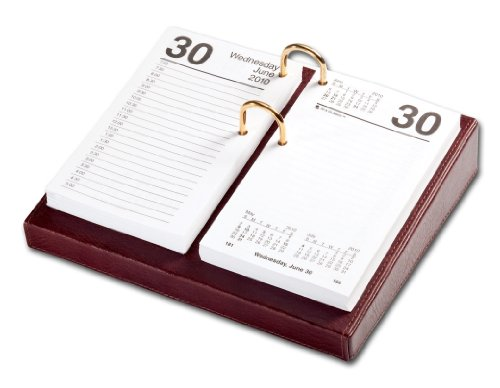 Dacasso Mocha Leather Desktop Calendar Holder with Gold B...