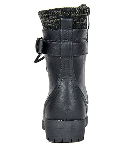 DREAM PAIRS Little Kid Amazon-K Black Girl's Mid Calf Combat Boots Size 1 M US Little Kid by DREAM PAIRS (Image #3)