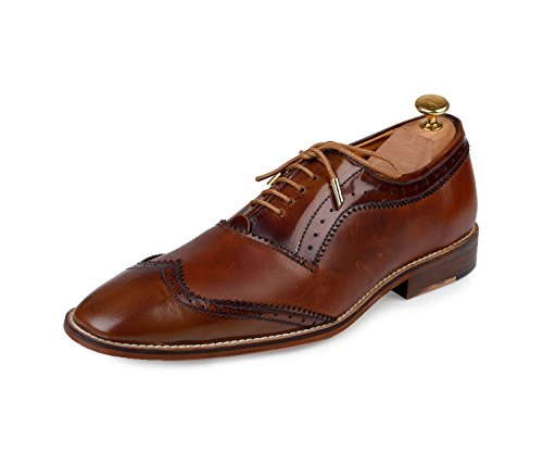 Handcrafted Brown Wingtip (Lethato Handcrafted Wingtip Oxford Men's Genuine Leather Lace Up Dress Shoes- Pine)