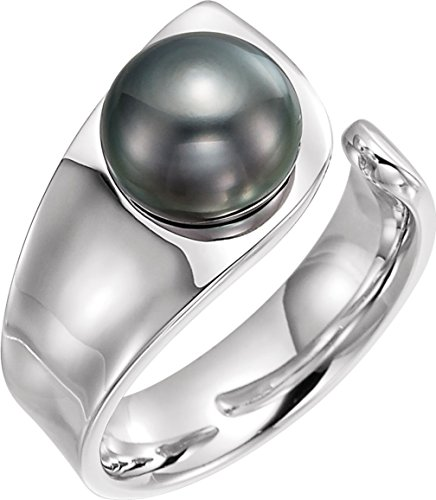 Tahitian Cultured Pearl Open Shank Ring, 9.00 MM - 10.00 MM, Sterling Silver, Size 6 (Open Shank Ring)