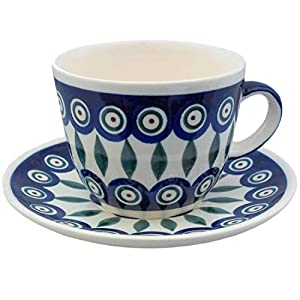 Polish Pottery Teacup Coffee Cup with a Saucer   Traditional Ceramics from Boleslawiec   Bunzlauer Keramik   100% Original Item Handcrafted in Poland   200 ml Capacity