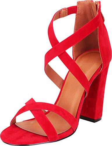 Cambridge Select Women's Crisscross Strappy Chunky Block High Heel Sandal,8.5 B(M) US,Red ()