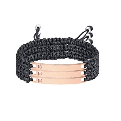 VNOX Custom Sisters Best Friend Bracelet Set for 3-Pink CZ Stainless Steel ID Braided Rope Adjustable Bracelet
