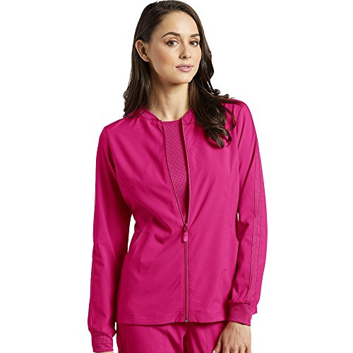 Fit by White Cross Women's Zip Front Mesh Detail Solid Scrub Jacket X-Small Fuchsia/Maui Pink