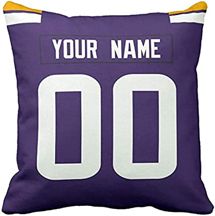 Personalized Custom Football Decorative Throw Pillow 18 X 18 Print Personalized Customization Select Any Name Any Number Mn Viking Amazon Co Uk Kitchen Home