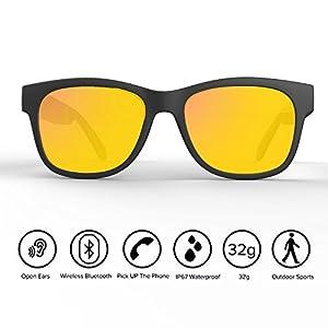 Bone Conduction Glasses Bluetooth Headphones Sunlasses Wireless Waterproof HandFree Earphones Hearing Aid Microphone Music Mp3 Player for Iphone HTC LG Samsung Android Windows Yellow