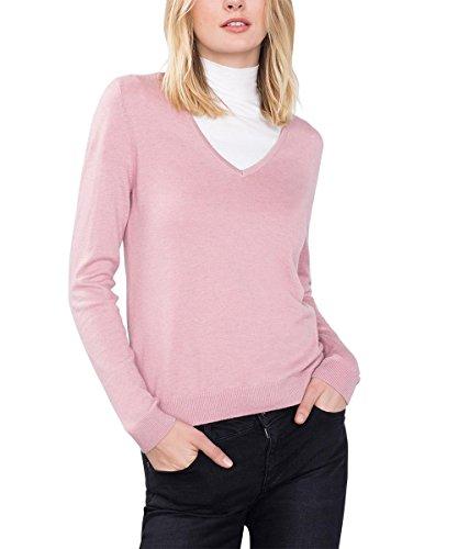 edc by Esprit Basic Mit V-Ausschnitt, Suéter para Mujer Rosa (OLD PINK 680)