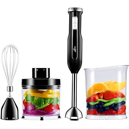 Litchi 2-Speed Immersion Hand Blender, 8 Inch Long Stainless Steel Stick Blender Shaft & Blades, Whisk, Mini Chopper, Beaker, Black