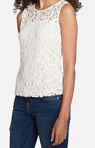 Tommy Hilfiger Womens Lace Sleeveless Blouse Ivory ()