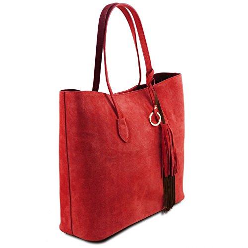 Tuscany Leather TL Bag Bolso Shopping en piel agamuzada Marrón oscuro Bolsos de asa larga Rojo