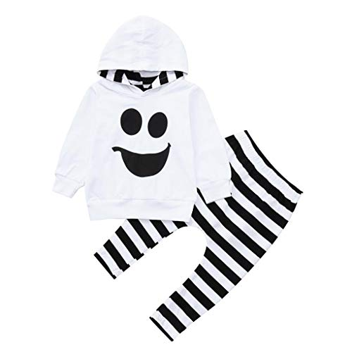 Kehen Halloween Costume Infant Baby Toddler Boy Girl Autumn Winter Clothes Striped Hooded Shirt Pullover + Long Pants (White, 3T) -