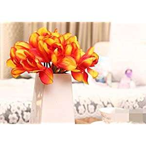 12 PCS High Quaulity Latex Real Touch Cymbidium Orchid Artificial Flower Bouquet for Wedding Holiday Bridal Bouquet Home Party Decor bridesmaid (Orange) 2
