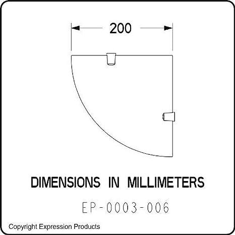 la confezione include un dischetto campione del materiale utilizzabile come gettone per carrello Expression Products Mensola angolare in acrilico resistente da 5 mm dimensioni 200 mm