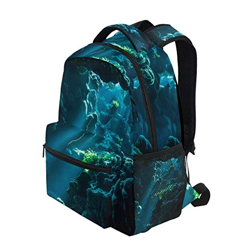 KVMV Underwater Cave Sunbeam Scene Fantasy Rocks Lightweight School Backpack Students College Bag Travel Hiking Camping Bags