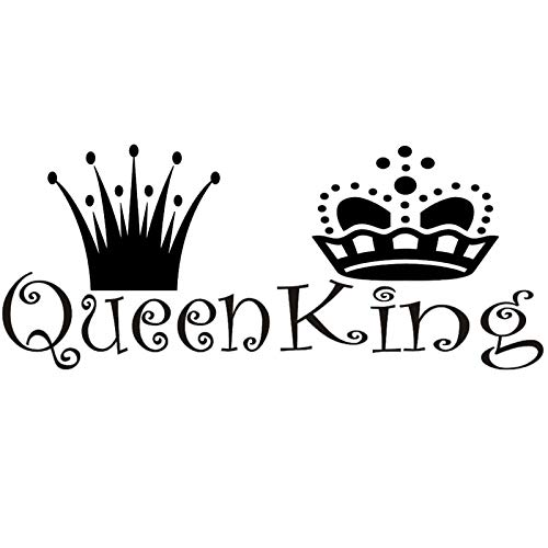 22*10 Inches Queen King Black Lettering Art Front Male and Female Crowns Vinyl Wall Decals Removable Wall Decors Home Art Wall Stickers for Bedroom