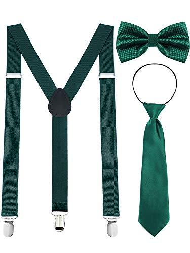 (Chuangdi Y Back Suspender, Adjustable Pre-tied Bowtie, Green Shamrock Necktie for Men Women St. Patrick's Day Accessories, 3 Pieces (Blackish Green))