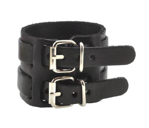 Leather Spike Stud Bracelet (Unisex Metal Punk Rock Strap PU Leather Bracelet (Wide Buckle))