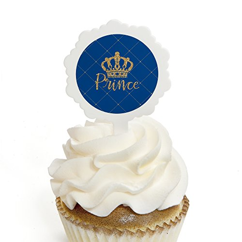 Royal Prince Charming - Cupcake Picks with Stickers - Baby Shower or Birthday Party Cupcake Toppers - 12 -