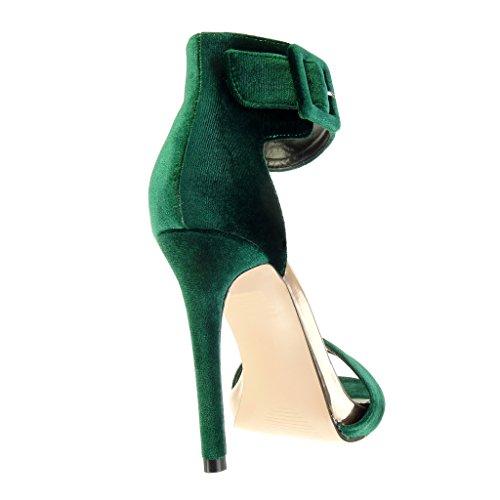 Angkorly - Zapatillas de Moda Sandalias Tacón escarpín stiletto sexy mujer tanga Hebilla Talón Tacón de aguja alto 11 CM - Verde