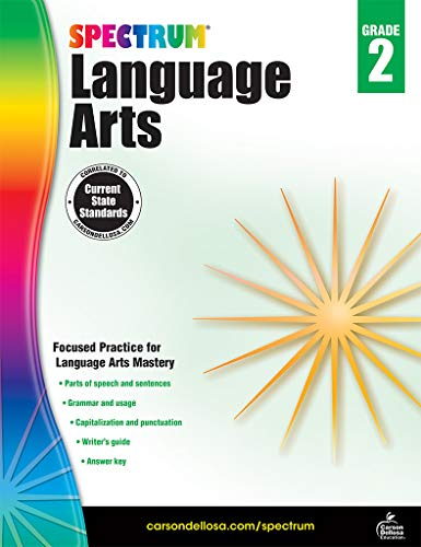 Carson Dellosa - Spectrum Language Arts, Focused Practice for Language Arts Mastery for 2nd Grade, 176 Pages, Ages 7-8 with Answer Key