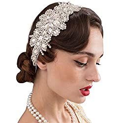 1920s Silver Rhinestone Flapper Elastic Headband