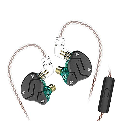 KZ ZSN Over Ear Earbuds Yinyoo HiFi Stereo Bass Sound IEM Headphones Noise Cancelling Earphone with Mic 0.75mm 2pins Detachable Cable for Cell Phones Android MP3 MP4 Music Audio Players(Cyan mic) (Best Noise Cancelling Iem)