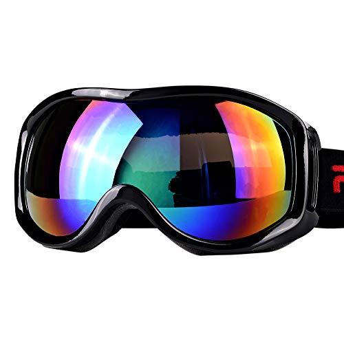 Boonor 스키 고글 스노우보드 고글 자외선 방지 방수 방호내 충격 흐림금지 경량 콤팩트 남녀 겸용 등산/고등어 가이아/오토바이/스키 운동에 전면 적용 (블랙)