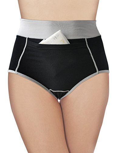 3 PACK Cotton Assorted Colors with Pocket Hi-Rise Brief Menstrual Period Panties (SMALL)