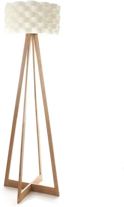 Lampadaire au style épuré ATMOSPHERA Pied en bambou et abat jour tressé aspect fibre de verre