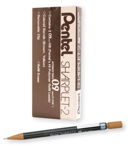 Pentel Sharplet-2 Mechanical Pencil, Brown Barrel, Box of 12 (A129E)