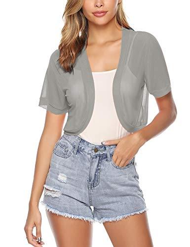 Aiboria Women Short Sleeve Sheer Chiffon Shrug Open Front Bolero Cardigan Grey