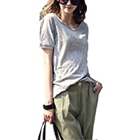 Twippo Womens T-Shirt Cotton Loose Tees Short Sleeve Summer Tops