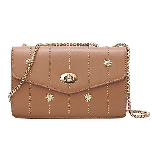 UNYU Beaded Handbag - Bolso al hombro para mujer Caqui