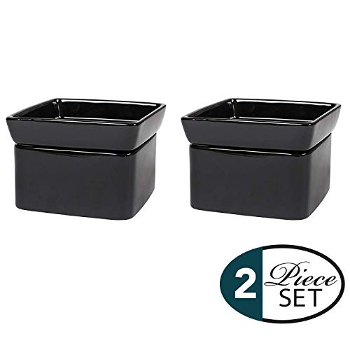 Elanze Designs Glossy Black Ceramic Stoneware 2-In-1 Jar Candle and Wax Tart Oil Warmer - 2 Pack by Elanze Designs