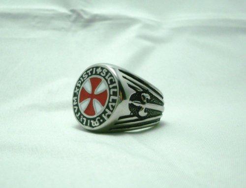 Da Vinci Code Seal of the Knights Templar Masonic Ring Knights Red Seal Sz 11.5