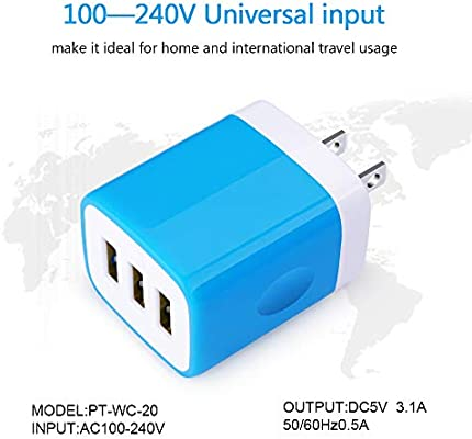 USB Charger Plug, Hootek 2Pack 3.1A 3-Multi Port USB Wall Charger Brick Base Adapter Charging Block Cube Charger Box Compatible iPhone XS Max/X/8/7/6S ...