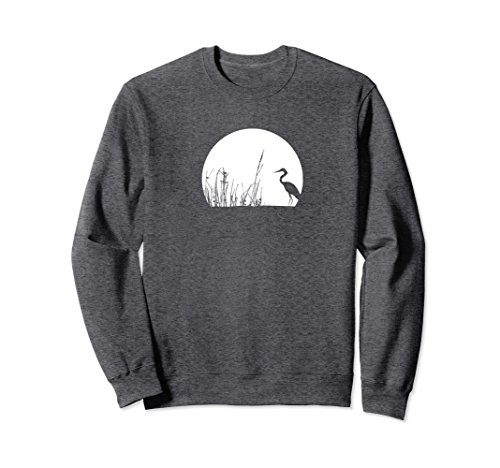 Tea Collection Pullover (Unisex Heron In The Reeds Inspirational Zen Mood Sweatshirt Medium Dark Heather)