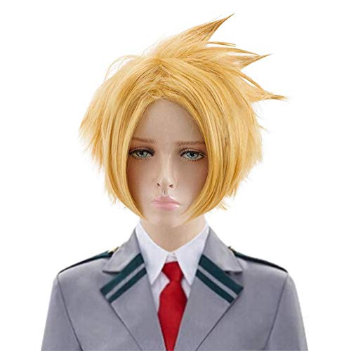 BEAUTY FLAG Yellow Kaminari Denki Cosplay Wig Anime Short Layered Heat Resistant Synthetic Costume Halloween Wigs with Free Wig Cap(Not include the Black Hairpin)