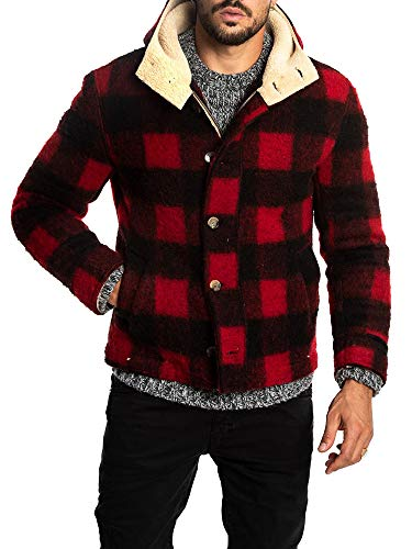 (Enjoybuy Mens Winter Fleece Fur Lined Hooded Wool Jacket Full Zip Button Up Warm Buffalo Plaid Coats)